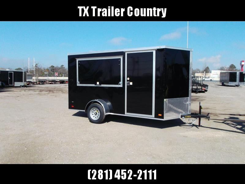 """SPECIAL - 2022 Covered Wagon Trailers 6x12 Single Axle Concession Trailer / Vending Trailer / Cargo Trailer / 6'6"""" Interior Height / Ramp / RV Side Door / LEDs / Black Semi-Screwless Exterior / 3x6 Concession Window"""