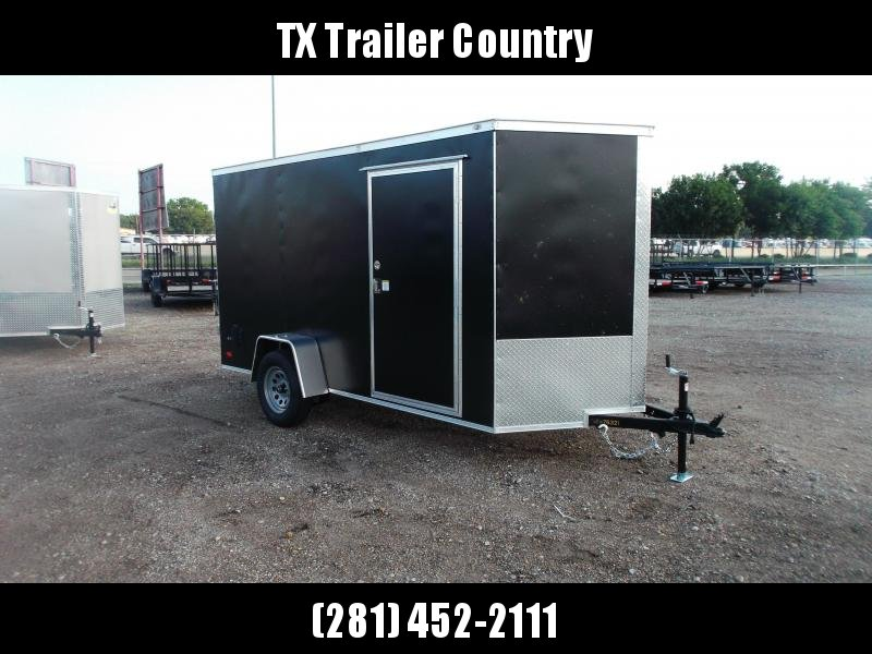 """SPECIAL - 2022 Covered Wagon Trailers 6x12 Single Axle Cargo / Enclosed Trailer / Barn Doors / RV Side Door / 6'3"""" Interior / LEDs / Semi-Screwless Exterior / Black Powder Coated Skin"""