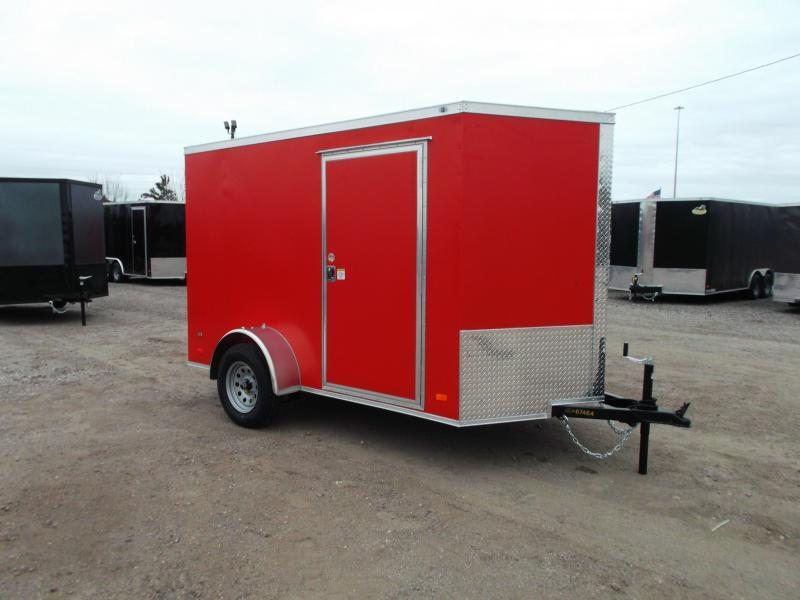 "2021 Covered Wagon Trailers 6x10 Single Axle Cargo Trailer / Enclosed Trailer / Ramp / 6'3"" Interior / RV Side Door / LEDs / Red Powder Coated Exterior / Semi-Screwless Exterior"