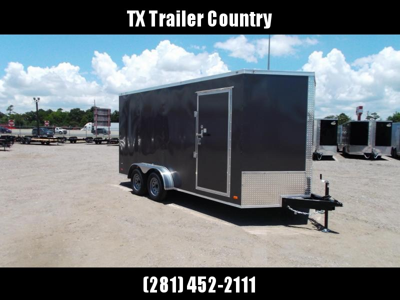 2022 Covered Wagon Trailers 7x16 Tandem Axle Cargo Trailer / Enclosed Trailer / 7ft Interior / Ramp / RV Door / LEDs / Charcoal Gray Semi-Screwless Exterior