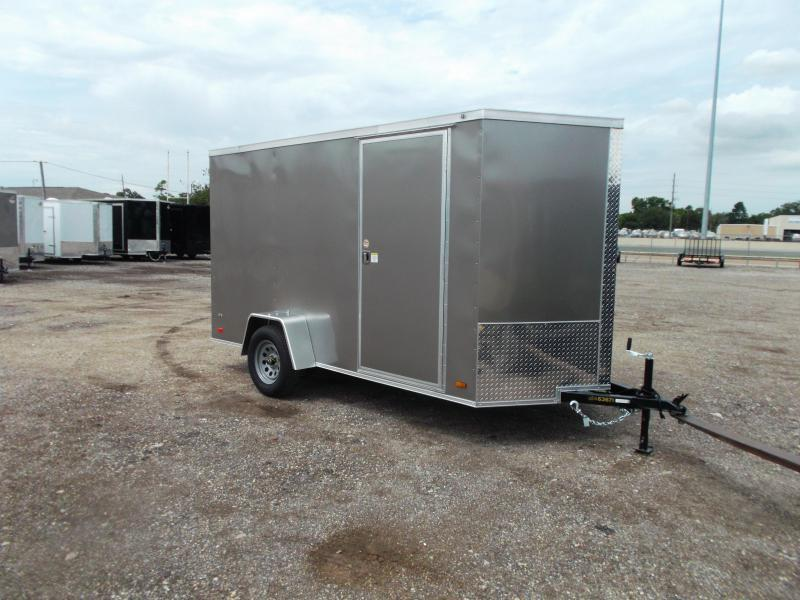"2021 Covered Wagon Trailers 6x12 Single Axle Cargo Trailer / Enclosed Trailer / 6'3"" Interior Height / Ramp / RV Side Door / LEDs / Light Pewter Semi-Screwless Exterior"