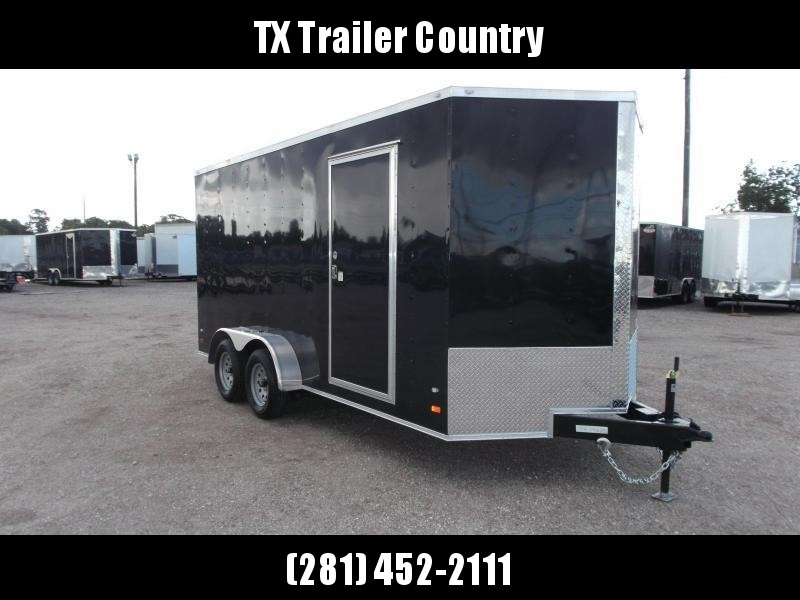 "2022 Covered Wagon Trailers 7x16 Tandem Axle Cargo Trailer / Enclosed Trailer / 6'3"" Interior / Ramp / RV Door / LEDs / Black .030 Semi Screwless Exterior"