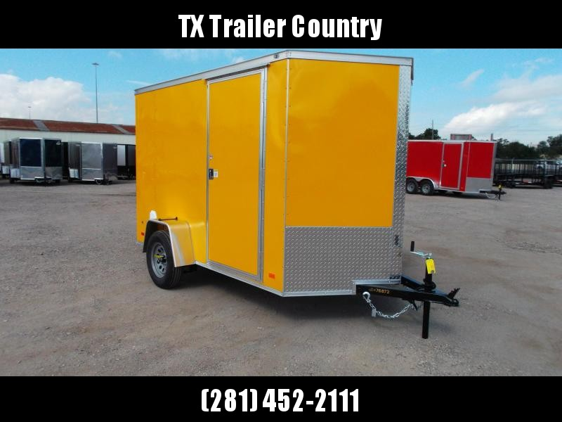 """2022 Covered Wagon Trailers 6x10 Single Axle Cargo / Enclosed Trailer / 6'6"""" Interior Height / Ramp Gate / RV Side Door / LEDs / Yellow .030 Semi-Screwless Exterior"""