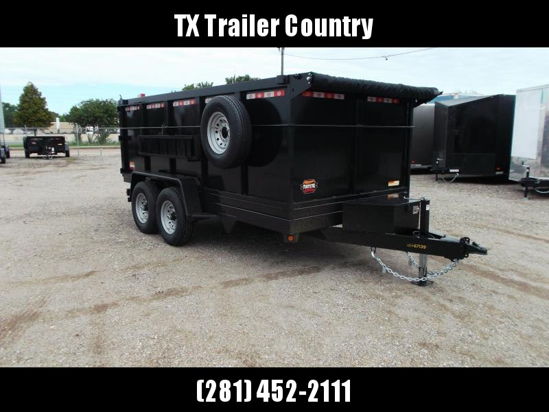 SPECIAL - 2022 Covered Wagon Trailers 7x14 Dump Trailer / 7K Axles / 4ft Sides / Tarp Kit / Spare Tire / Twin Cylinder Lifts / Powder Coated Black