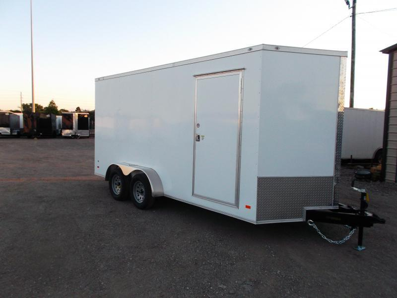 "2021 Covered Wagon Trailers 7x16 Tandem Axle Cargo Trailer / Enclosed Trailer / 6'3"" Interior / Ramp / RV Door / LEDs / Semi-Screwless Exterior"