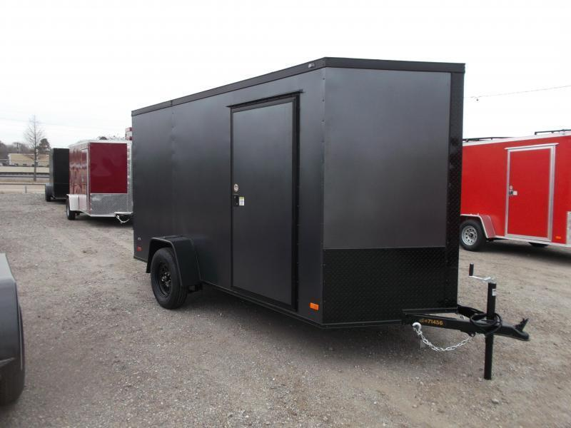 "2021 Covered Wagon Trailers 6x12 Single Axle Cargo / Enclosed Trailer / 6'6"" Interior / Ramp / RV Side Door / LEDs / Charcoal Gray Semi-Screwless Exterior / Black Out Package"