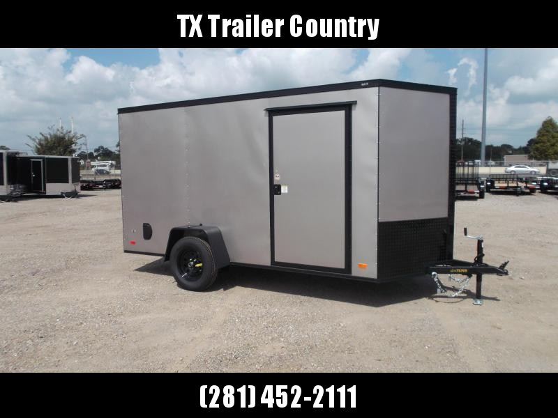 """2022 Covered Wagon Trailers 6x12 Single Axle Cargo / Enclosed Trailer / 6'3"""" Interior Height / Ramp Gate / RV Side Door / LEDs / Light Pewter Semi-Screwless Exterior / Black Out Package"""