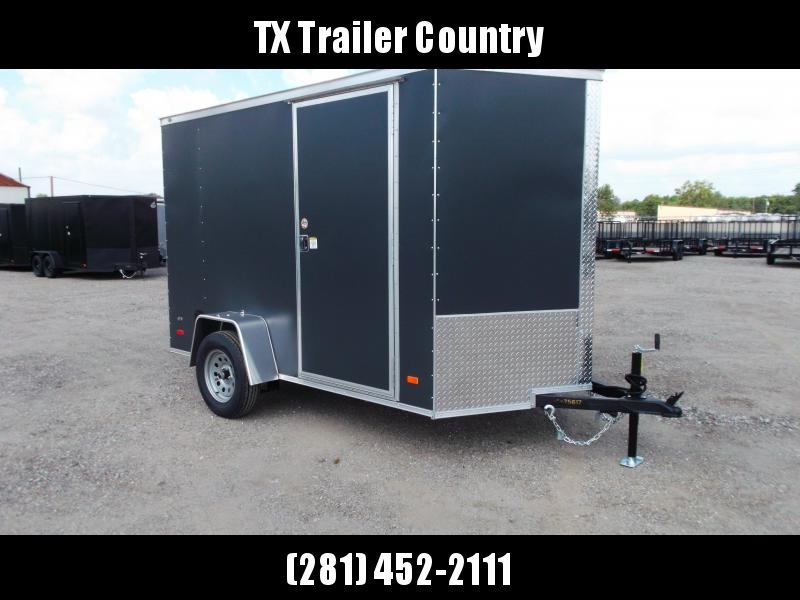 """2022 Covered Wagon Trailers 6x10 Single Axle Cargo / Enclosed Trailer / 6'6"""" Interior Height / Ramp Gate / RV Side Door / LEDs / Semi-Screwless Exterior / Charcoal Gray Powder Coated Skin"""