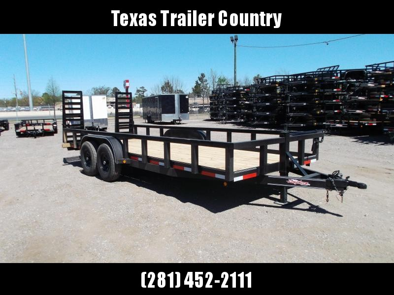 "2021 Longhorn Trailers 83x20 Utility Trailer / 7000# Axles / 3"" Square Tubing / Heavy Duty Stand Up Ramps"
