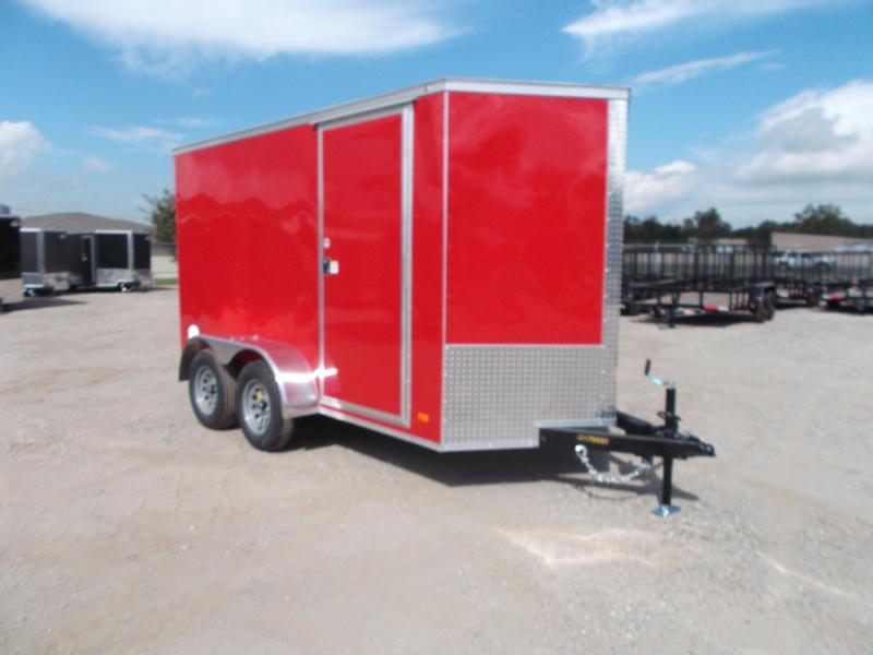 "2022 Covered Wagon Trailers 6x12 Tandem Axle Cargo Trailer / Enclosed Trailer / 6'6"" Interior / Ramp / RV Door / LEDs / Red Semi-Screwless Exterior"