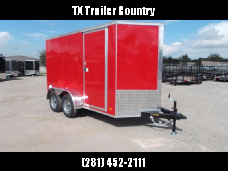 """SPECIAL - 2022 Covered Wagon Trailers 6x12 Tandem Axle Cargo Trailer / Enclosed Trailer / 6'6"""" Interior / Ramp / RV Door / LEDs / Red Semi-Screwless Exterior"""