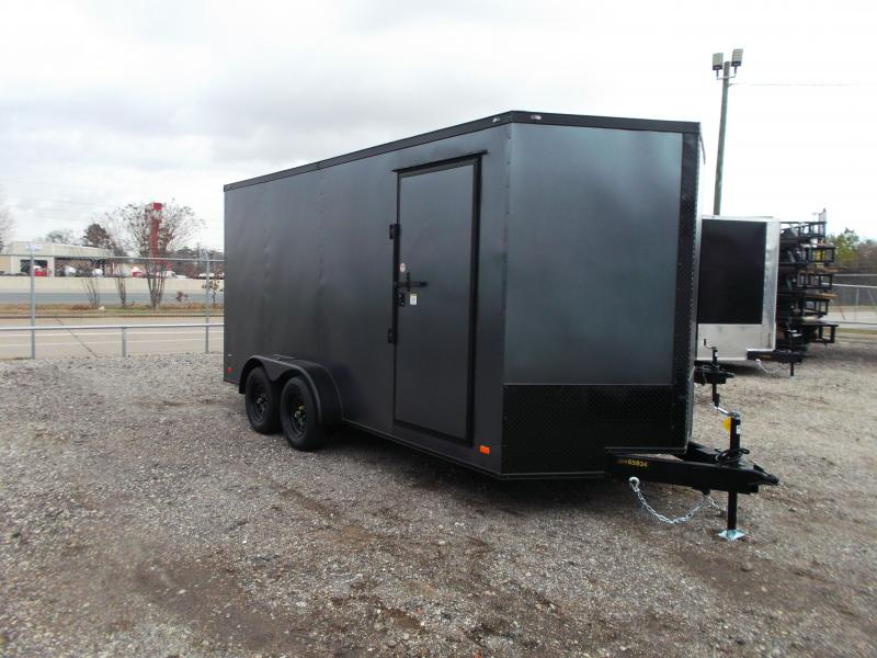 2021 Covered Wagon Trailers 7x16 Tandem Axle Cargo Trailer / Enclosed Trailer / 7ft Interior / Ramp / RV Door / LEDs / Semi-Screwless Exterior / Silver Vein Powder Coated Skin / Black Out Package