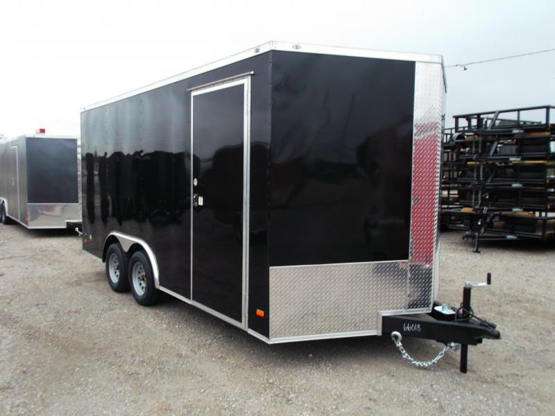 2021 Covered Wagon 8.5x16 Tandem Axle Cargo Trailer / Car Hauler / Ramp / 7ft Interior Height / RV Side Door / LEDs / Semi-Screwless Exterior