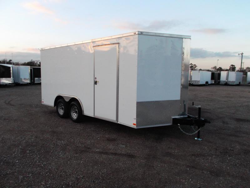 2021 Covered Wagon 8.5x16 Tandem Axle Cargo Trailer / Car Hauler / Ramp / RV Door / LEDs