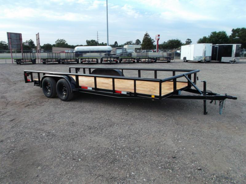 2021 TTC 83x20 Utility Trailer / Lowboy Trailer / 4ft Ramp Gate / Electric Brakes / Pipetop