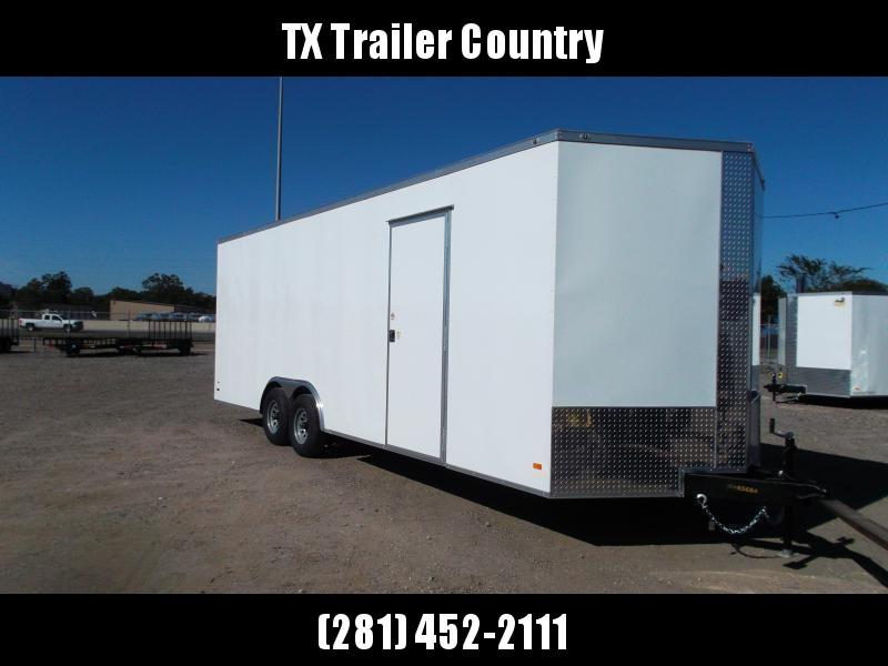 2022 Peach Cargo 8.5x24 Tandem Axle Cargo Trailer / Car Hauler / 7ft Interior / 5200# Axles / Heavy Duty Ramp / RV Side Door / LEDs / 1 Piece Roof / Square Tubing