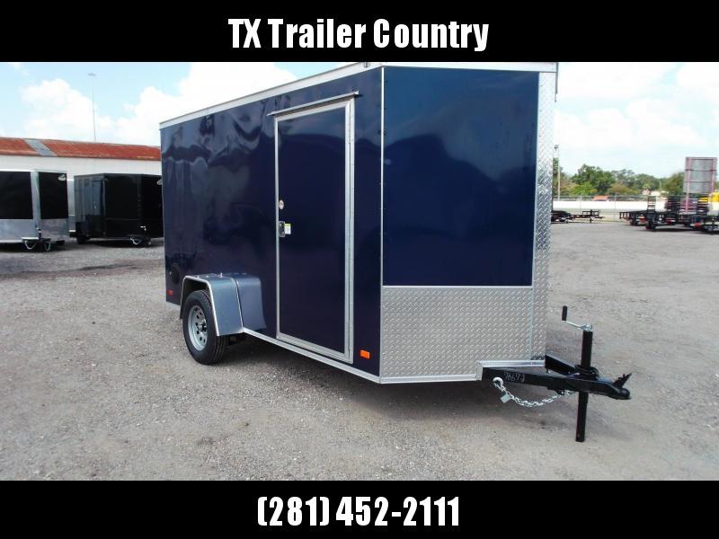 "SPECIAL - 2022 Covered Wagon Trailers 6x12 Single Axle Cargo / Enclosed Trailer / Ramp / RV Door / 6'3"" Interior / LEDs / Indigo Blue Semi Screwless Exterior"