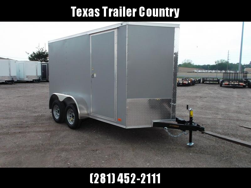 "2021 Covered Wagon Trailers 6x12 Tandem Axle Cargo Trailer / Enclosed Trailer / 6'6"" Interior / Ramp / RV Door / LEDs / Semi-Screwless Exterior / Silver Powder Coated Skin"