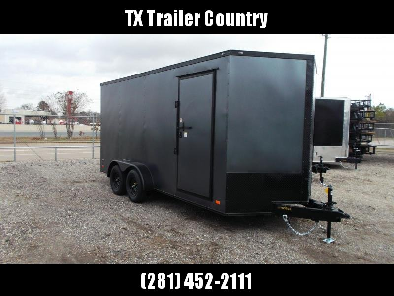 2022 Covered Wagon Trailers 7x14 Tandem Axle Cargo Trailer / Enclosed Trailer / 7ft Interior / Ramp / RV Door / LEDs / Charcoal Gray Semi-Screwless Exterior / Black Out Package