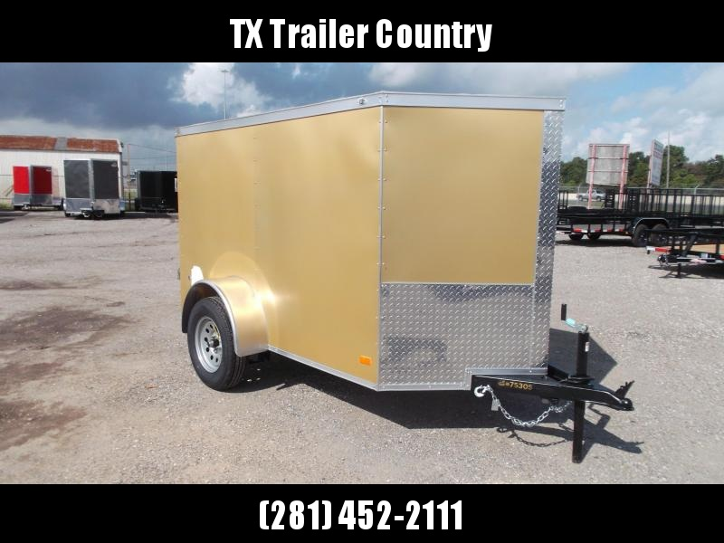 2022 Covered Wagon Trailers 5x8 Single Axle Cargo Trailer / Enclosed Trailer / Swing Door / LED's / Gold Semi-Screwless Exterior
