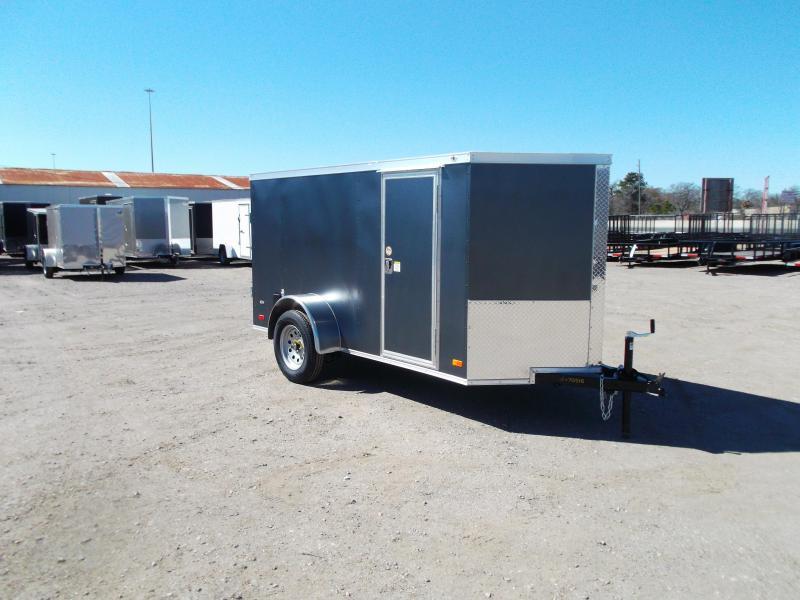 2021 Covered Wagon 5x10 Single Axle Cargo Trailer / Enclosed Trailer / Double Rear Doors / RV Side Door / LEDs / Silver Vein Powder Coat Skin / Semi Screwless Exterior