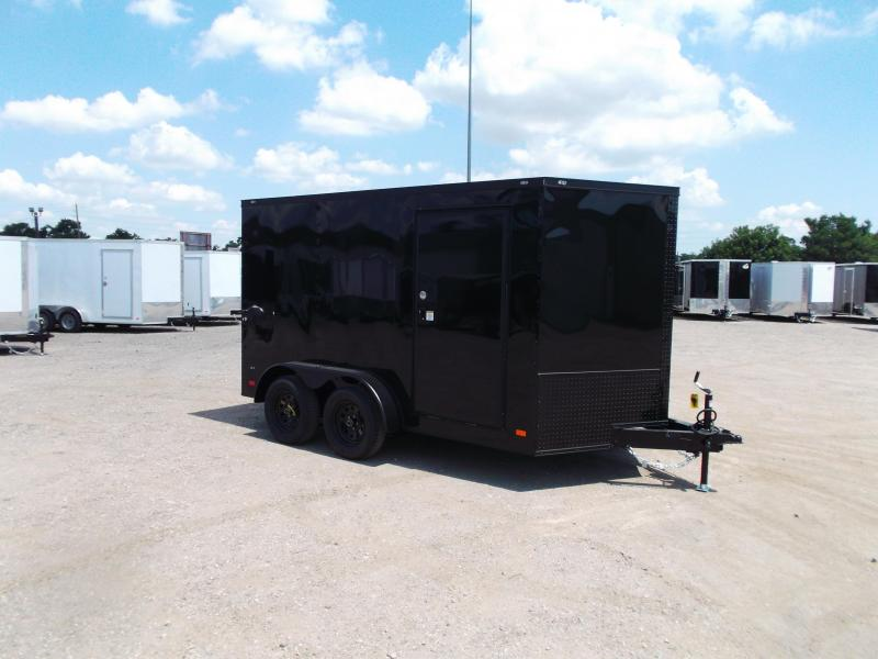 2020 Covered Wagon Trailers 7x12 Tandem Axle Motorcycle Trailer / Cargo Trailer / Black Out Package / Ramp / LEDs