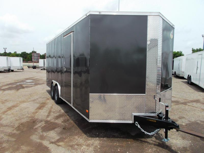 2021 Covered Wagon Trailers 8.5x20 Tandem Axle Cargo / Enclosed Trailer / 7ft Interior / 5200# Axles / RV Side Door / LEDs / Charcoal Gray Exterior