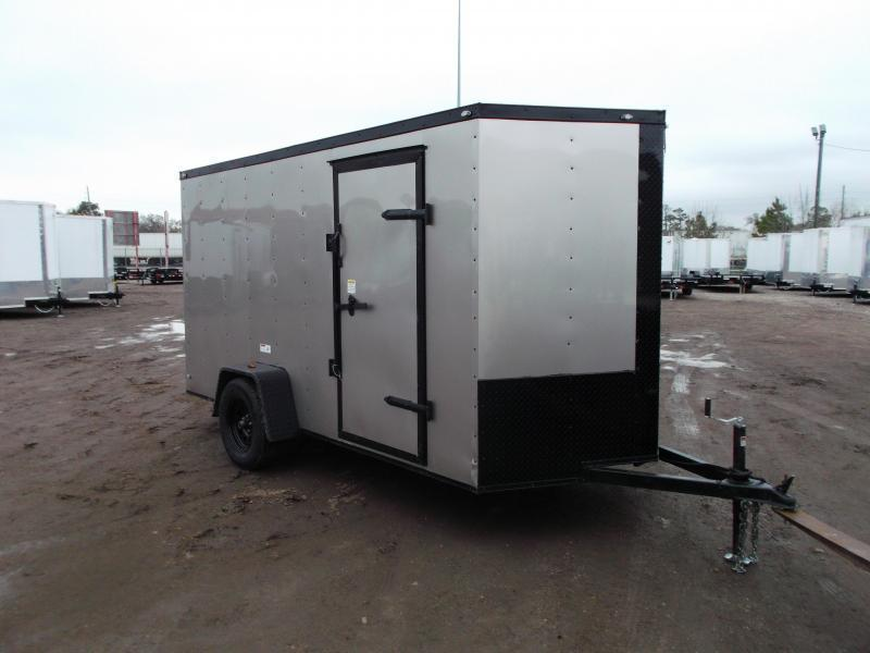 "2020 Texas Select 6x12 Single Axle Cargo Trailer / Enclosed Trailer / Silver / Blacked Out / 6'3"" Interior / Ramp / Side Door / LEDs"