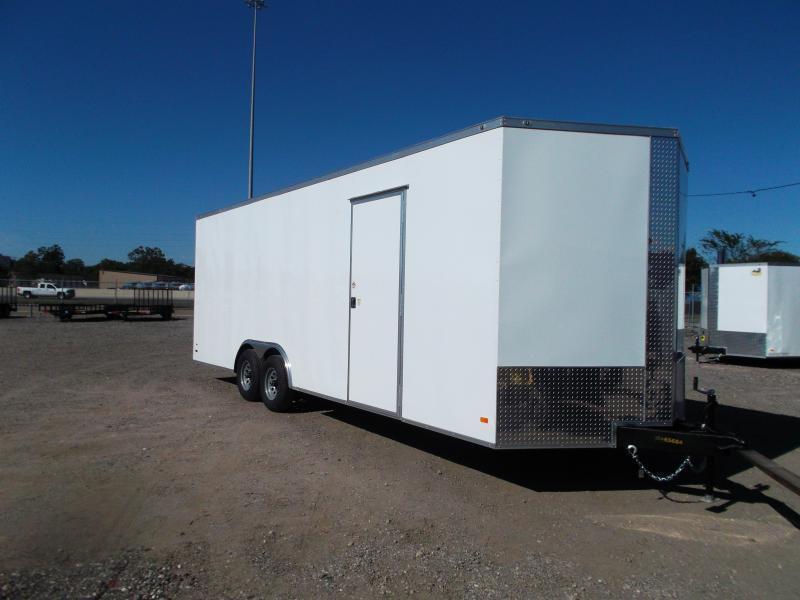 2021 Covered Wagon Cargo 8.5x24 Tandem Axle Cargo Trailer / Car Hauler / 7ft Interior / 5200# Axles / Heavy Duty Ramp / RV Side Door / LEDs / Semi-Screwless Exterior