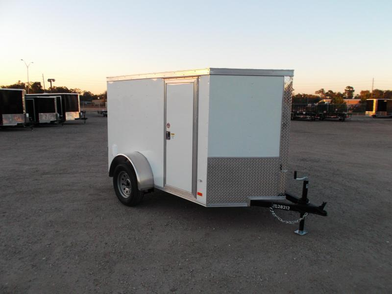2021 Covered Wagon Trailers 5x8 Single Axle Cargo Trailer / Enclosed Trailer / Ramp / RV Side Door / LEDs / Semi-Screwless Exterior