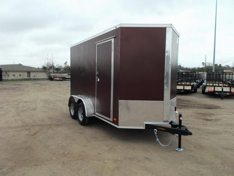 2021 Covered Wagon Trailers 6x12 Tandem Axle Cargo Trailer / Enclosed Trailer / 7ft Interior / Ramp Gate / LEDs / RV Side Door / Copper Vein Powder Coated Semi-Screwless Exterior