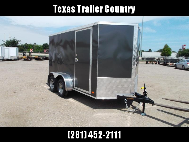 """2021 Covered Wagon Trailers 6x12 Tandem Axle Cargo Trailer / Enclosed Trailer / 6'6"""" Interior / Ramp / RV Side Door / LEDs / Charcoal Gray Semi-Screwless Exterior"""