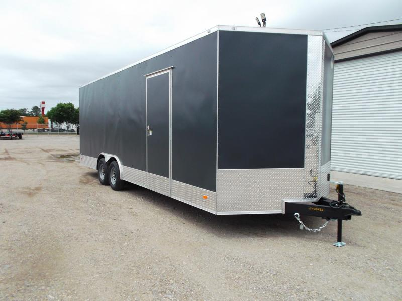 "2021 Covered Wagon Cargo 8.5x24 Tandem Axle Cargo / Enclosed Trailer / 7'6"" Interior / 5200# Axles / Ramp / LEDs / Charcoal Gray Powder Coated Skin / Semi-Screwless Exterior"