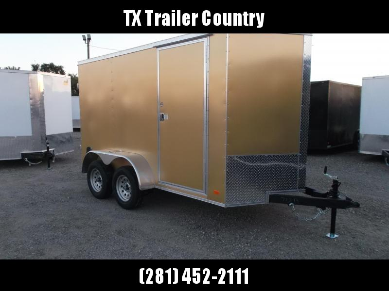 """SPECIAL - 2022 Covered Wagon Trailers 6x12 Tandem Axle Cargo Trailer / Enclosed Trailer / Barn Doors / 6'6"""" Interior Height / RV Side Door / LEDs / Gold Semi-Screwless Exterior"""