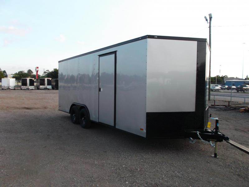 2021 Covered Wagon Trailers 8.5x20 Tandem Axle Cargo / Enclosed Trailer / Race Trailer / 7ft Interior / 5200# Axles / Black Out Package / Silver Semi- Screwless Exterior / LED's