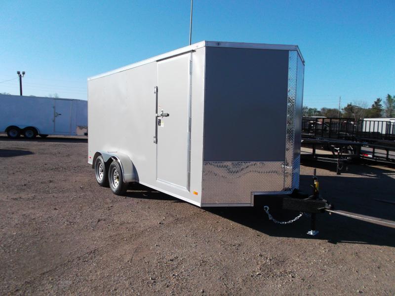 "2021 Covered Wagon Trailers 7x16 Tandem Axle Cargo Trailer / Enclosed Trailer / 6'6"" Interior / Ramp / RV Door / LEDs / Semi-Screwless Exterior / Silver Powder Coated Skin"