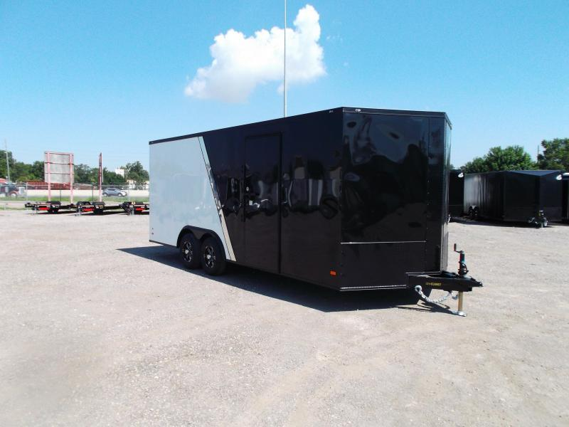2021 Covered Wagon Trailers 8.5x20 Tandem Axle Cargo / Enclosed Trailer / Race Trailer / 7ft Interior / 5200# Axles / Black & White Slant Metal Package / Semi-Screwless Exterior / Black Out Package / Mags