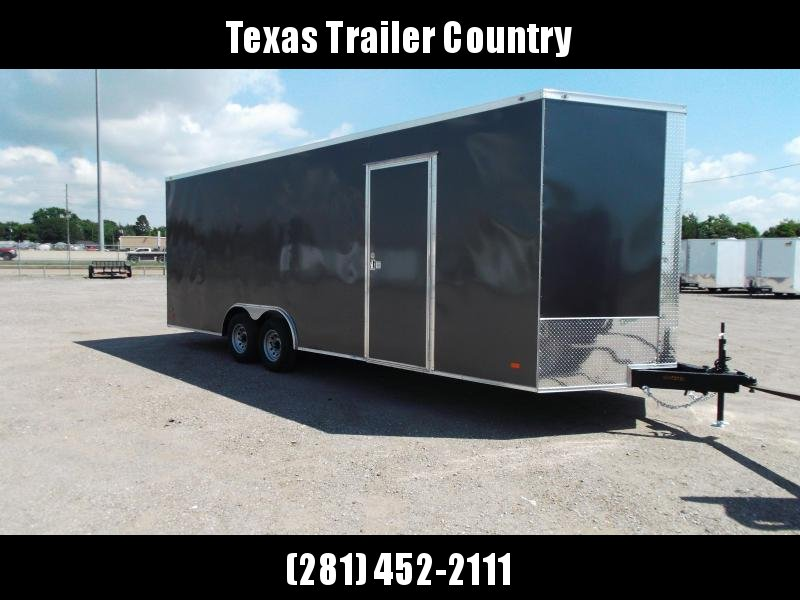 2022 Covered Wagon Cargo 8.5x24 Tandem Axle Cargo / Enclosed Trailer / Race Trailer / 7ft Interior / 5200# Axles / Ramp / LEDs / Semi-Screwless Exterior / Charcoal Gray Powder Coat Skin