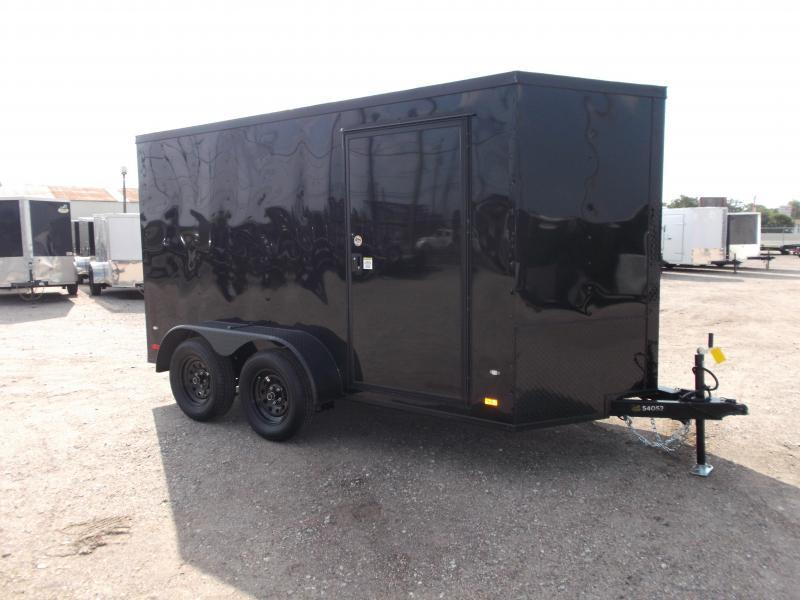 "2021 Covered Wagon Trailers 6x12 Tandem Axle Cargo Trailer / Enclosed Trailer / Black Out Package / 6'3"" Interior Height / Ramp / RV Side Door / LEDs"