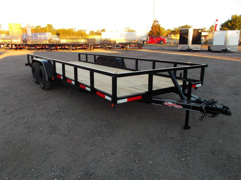 "2021 Longhorn Trailers 83x20 Utility Trailer w/ 5ft Slide Out Ramps / Electric Brakes / 2"" Square Tubing Uprights and Toprail"