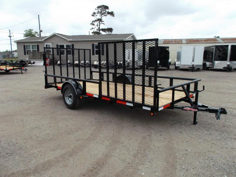 2021 Longhorn Trailers 83x14 Single Axle Utility Trailer w/ Pipetop / 4ft Heavy Duty Rear Ramp / 4ft Side Load Ramp Gate