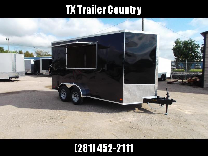 2022 Covered Wagon Trailers 7x14 Tandem Axle Cargo / Concession Trailer / 7ft Interior / RV Side Door in Rear / LEDs / Black Semi-Screwless Exterior / 3x6 Concession Window