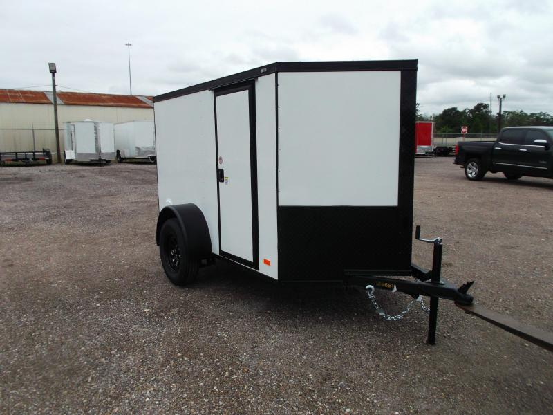 2021 Covered Wagon Trailers 5x8 Single Axle Cargo Trailer / Enclosed Trailer / Ramp / RV Side Door / LEDs / Semi-Screwless Exterior / Black Out Package