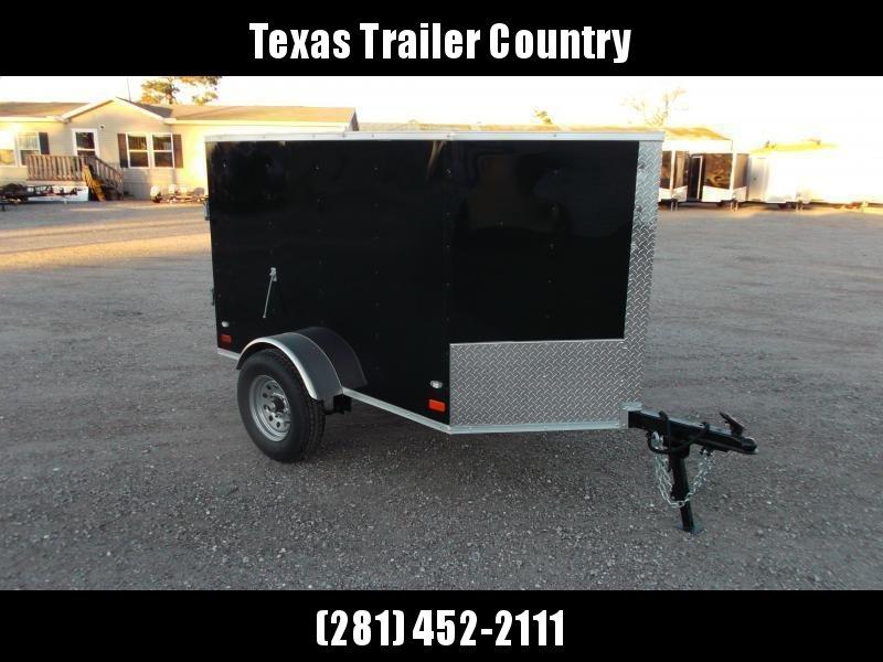 2021 Covered Wagon Trailers 4x6 Single Axle Cargo Trailer / Enclosed Trailer / Black / LEDs / Semi-Screwless Exterior