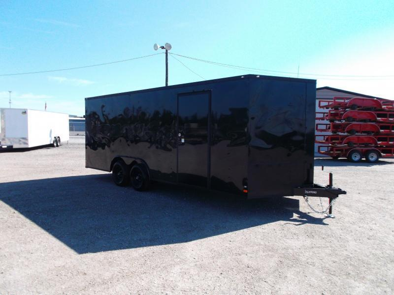 2021 Covered Wagon Trailers 8.5x20 Blacked Out Tandem Axle Cargo / Enclosed Trailer / Car Hauler / 5200# Axles / Ramp / RV Door / LEDs / Semi-Screwless Exterior