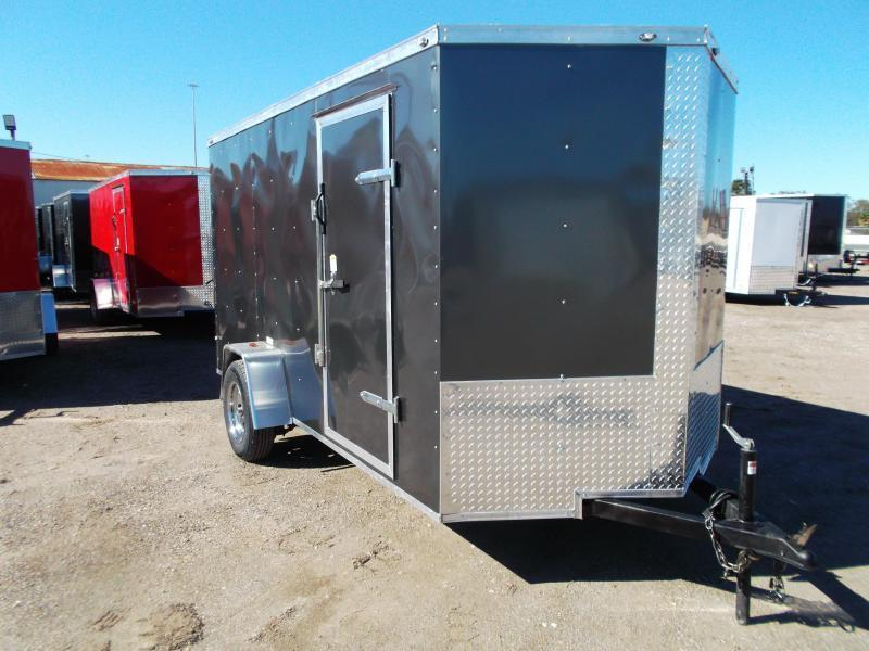 "2021 Texas Select 6x12 Single Axle Cargo Trailer / Enclosed Trailer / 6'3"" Interior / Ramp / Side Door / LEDs / CHARCOAL GRAY"