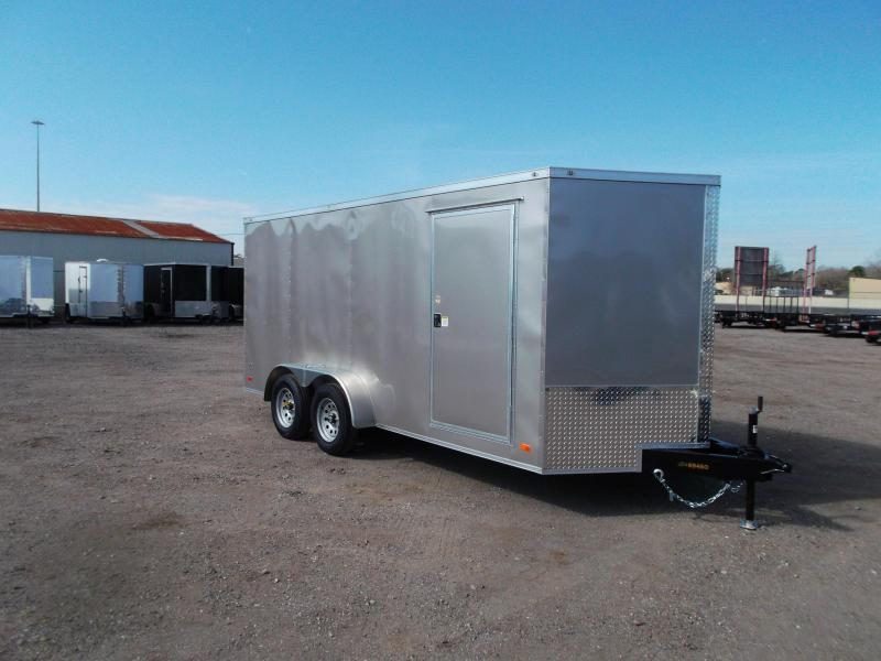 "2021 Covered Wagon Trailers 7x16 Tandem Axle Cargo Trailer / Enclosed Trailer / 6'3"" Interior / Ramp / RV Door / LEDs / Arizona Beige Semi-Screwless Exterior"