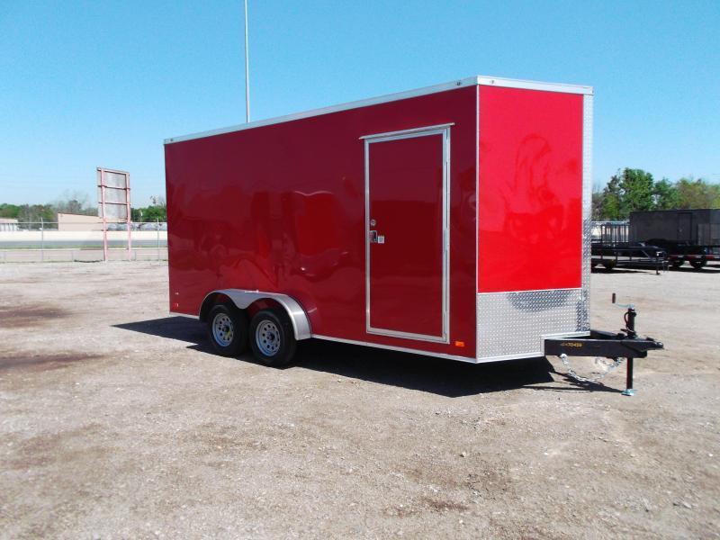 """2021 Covered Wagon Trailers 7x14 Tandem Axle Cargo / Enclosed Trailer / 7'6"""" Interior Height / Ramp / LEDs / Red Semi-Screwless Exterior"""