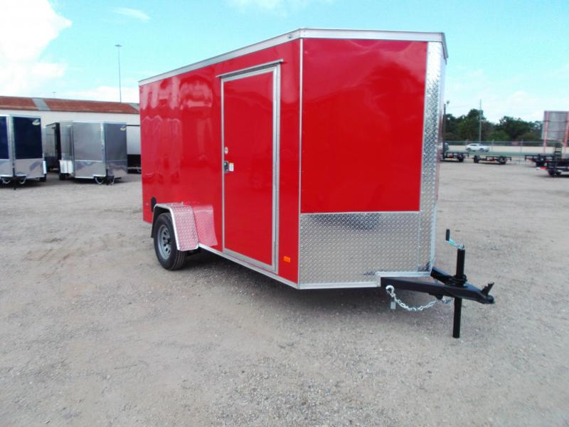 """2022 Covered Wagon Trailers 6x12 Single Axle Cargo Trailer / Enclosed Trailer / Ramp / 6'6"""" Interior / RV Side Door / LEDs / Red Semi-Screwless Exterior"""
