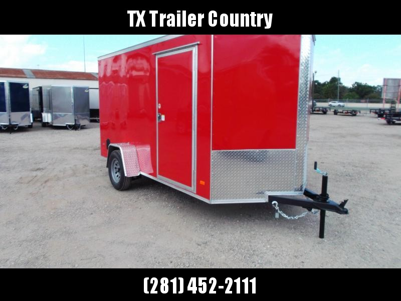 """SPECIAL - 2022 Covered Wagon Trailers 6x12 Single Axle Cargo Trailer / Enclosed Trailer / Ramp / 6'6"""" Interior / RV Side Door / LEDs / Red Semi-Screwless Exterior"""